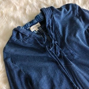 Cloth & Stone Anthropologie Blue Lace Up Hood Top